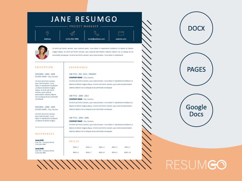 ROSEMONT - Free Stylish Resume Template With a Dark Blue Header - ResumGO