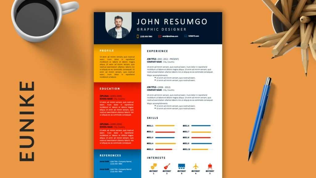 EUNIKE - Colorful Creative Free Resume Template - ResumGO