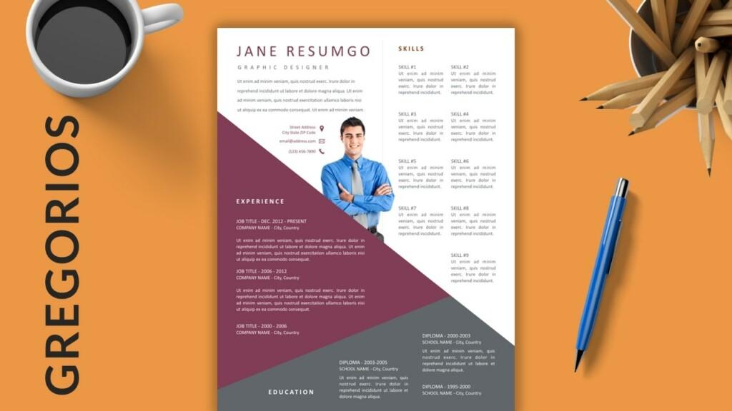GREGORIOS - Transversal Creative Free Resume Template - ResumGO