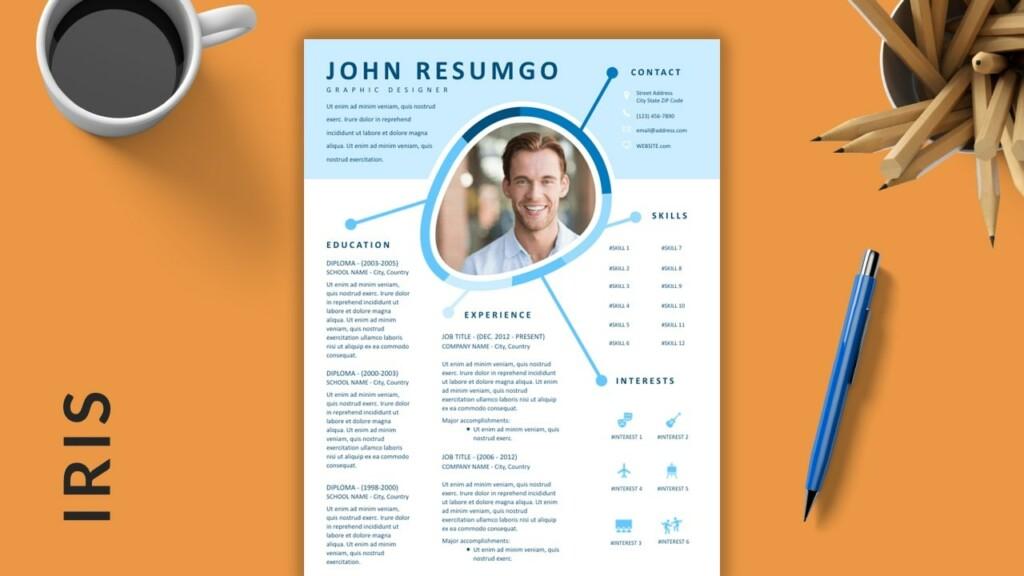 IRIS - Blue Creative Free Resume Template - ResumGO
