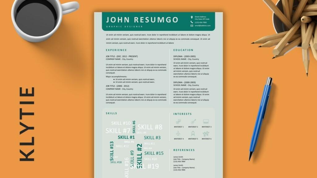 KLYTIE - Creative Free Resume Template with Word Cloud - ResumGO
