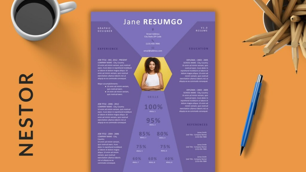 NESTOR - Purple Diamond Free Resume Template - ResumGO