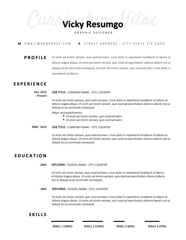 ARMANI - Free Elegant CV Template with Plain White Background