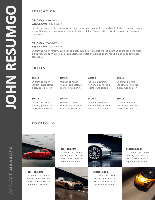 AZARIAH - Free 2-Page CV Template with Gray Left Sidebar - Second Page