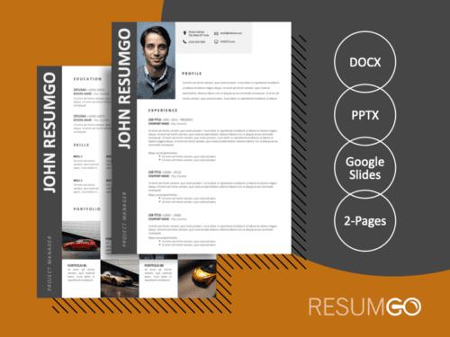 AZARIAH - Free 2-Page CV Template with Gray Left Sidebar - ResumGO