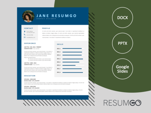 CAMPBELL - Free Stylish CV Template with Blue Border - ResumGO