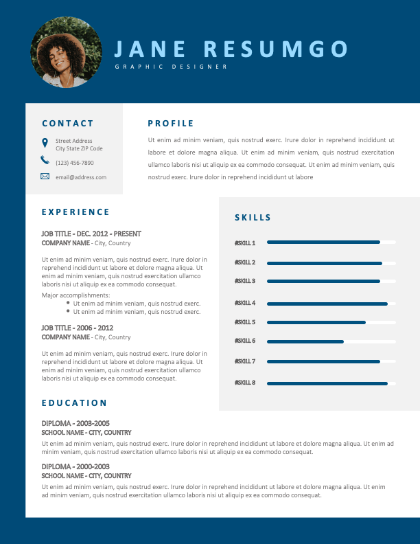 CAMPBELL - Free Stylish CV Template with Blue Border