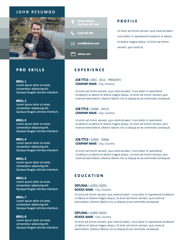 CHARLIE - Free CV Template with Blue Green Left Sidebar