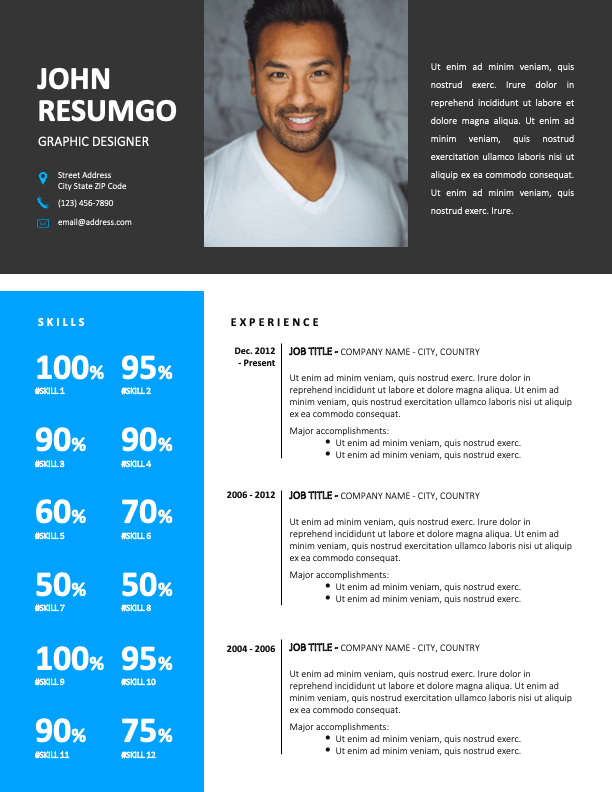 DENVER - Free 2-Page CV Template with Sky-Blue Left Sidebar - First Page