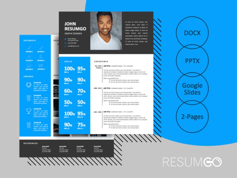 DENVER - Free 2-Page CV Template with Sky-Blue Left Sidebar - ResumGO