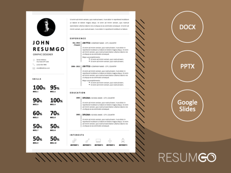 FINLEY - Free Black and White CV Template with Photo - ResumGO