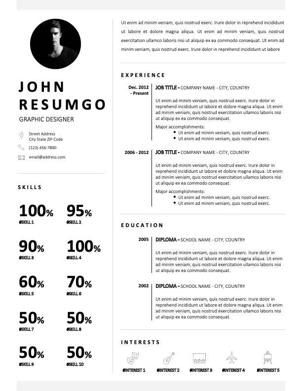FINLEY - Free Black and White CV Template with Photo