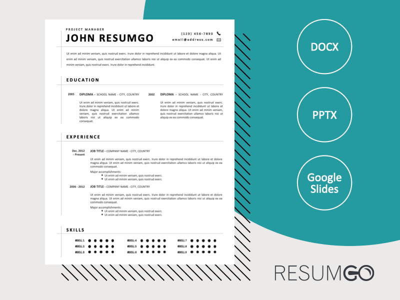 JUSTICE - Free Black and White CV Template with Separating Lines - ResumGO