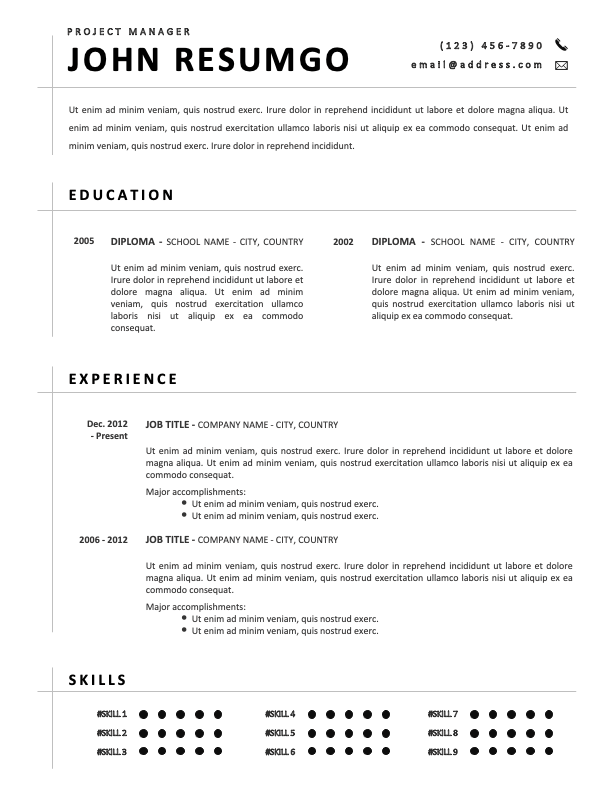 JUSTICE - Free Black and White CV Template with Separating Lines