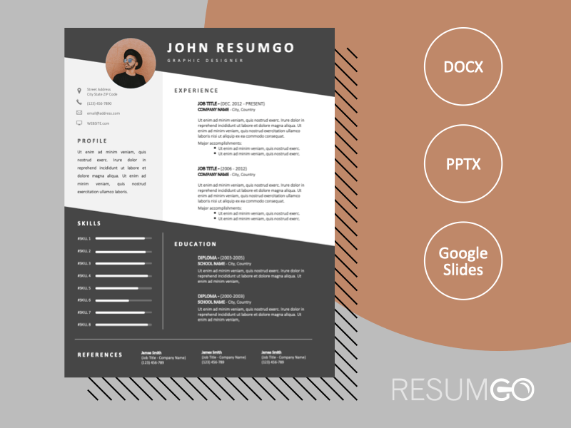 LANDRY - Free Gray and White CV Template with Diagonal Lines - ResumGO
