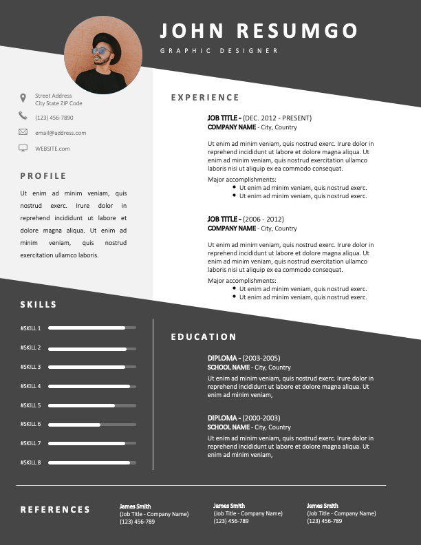 LANDRY - Free Gray and White CV Template with Diagonal Lines