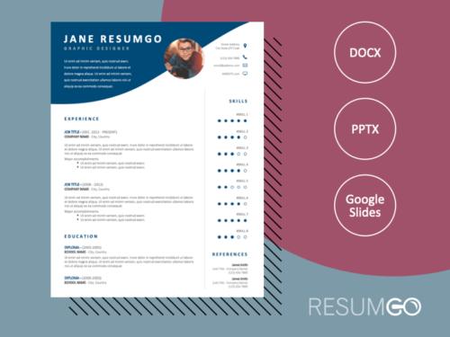 LENNON - Free CV Template with Wavy Blue Header - ResumGO