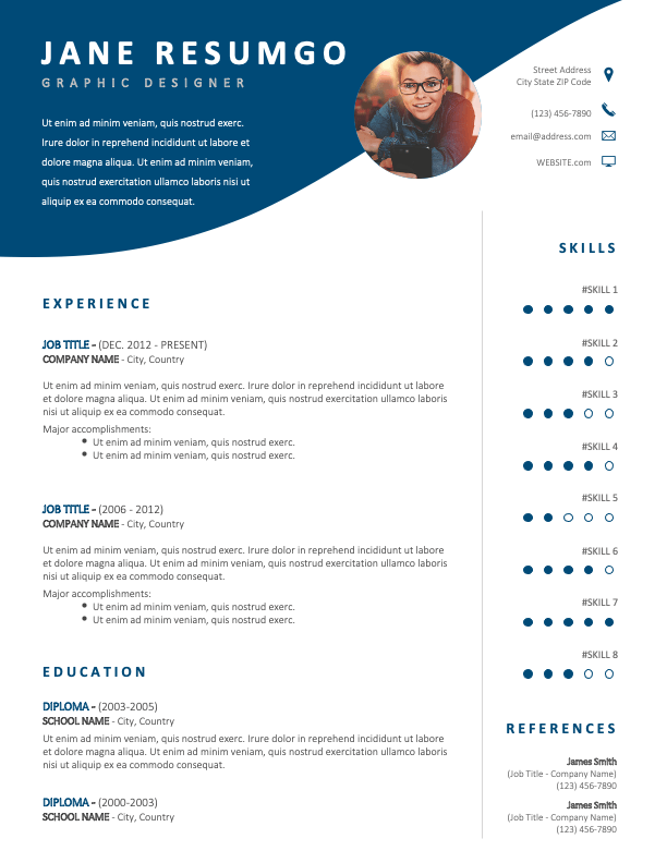 LENNON - Free CV Template with Wavy Blue Header