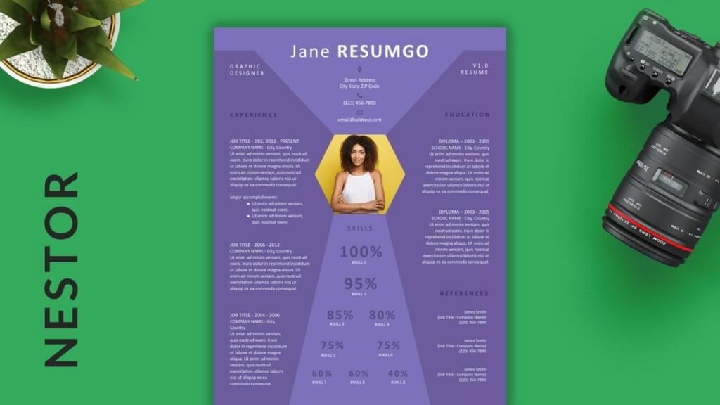 Nestor - Free Purple & Diamond Resume Template