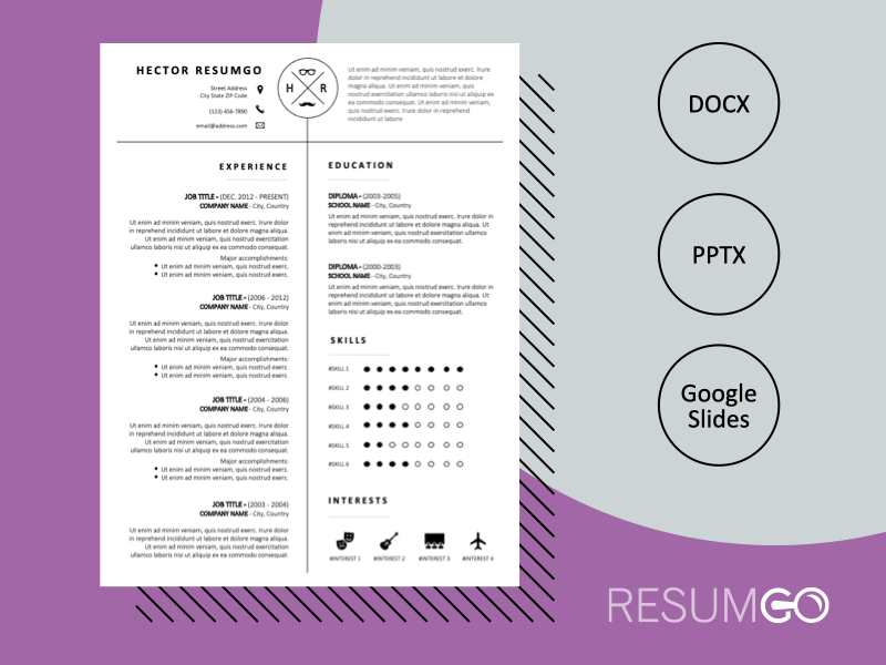 OAKLEY - Free Black and White CV Template with 2-Columns of Equal Width - ResumGO