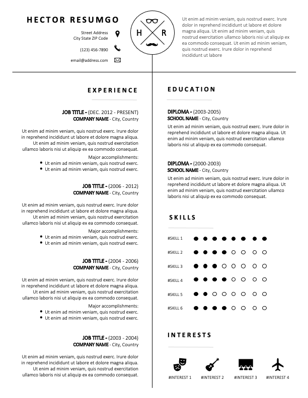 OAKLEY - Free Black and White CV Template with 2-Columns of Equal Width