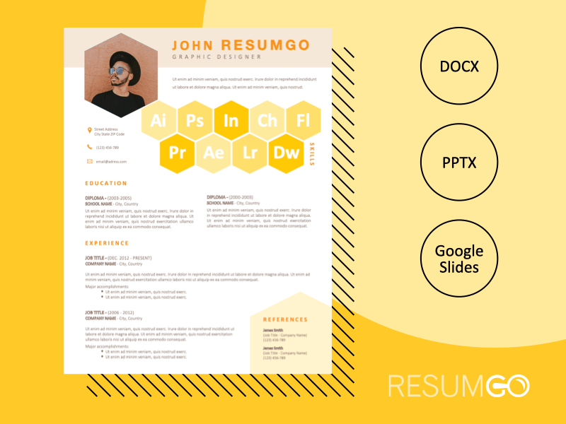 ROBIN - Free Yellow CV Resume Template with Honeycomb Design - ResumGO