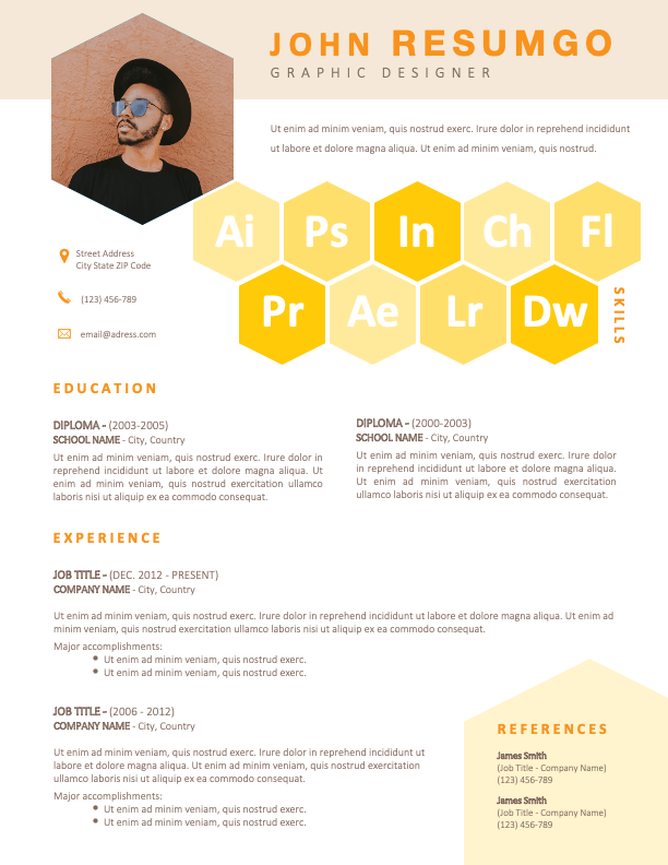 ROBIN - Free Yellow CV Resume Template with Honeycomb Design