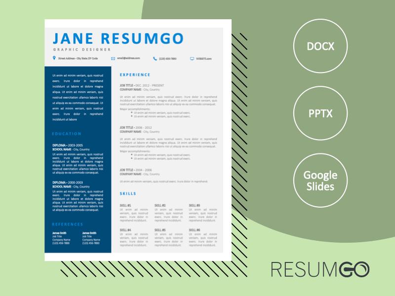 ROYAL - Free CV Template with Blue Sidebar - ResumGO