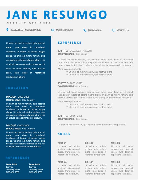 ROYAL - Free CV Template with Blue Sidebar