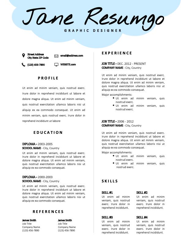 SIDNEY - Free CV Template with Light-Blue Cloud Header