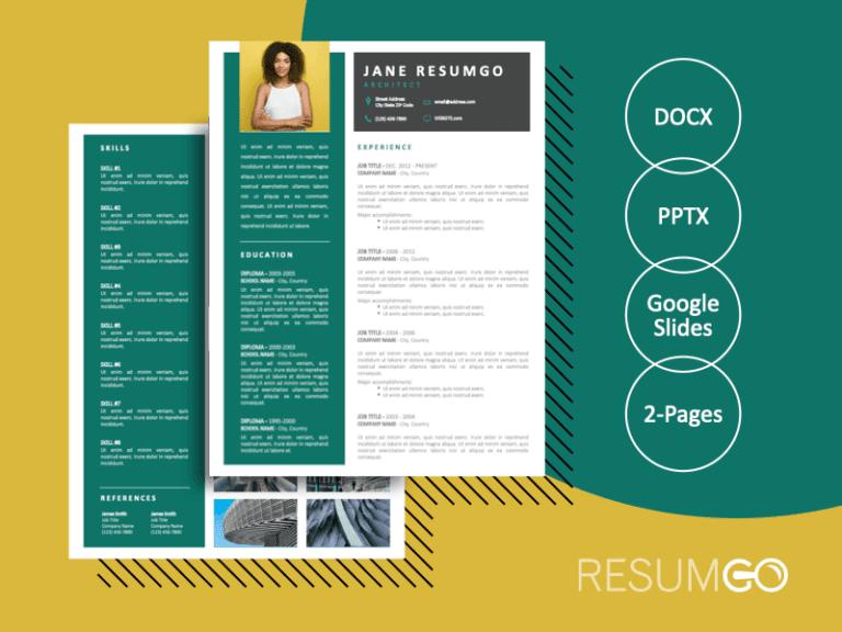 SKYLER - Free 2-Page CV Template with Portfolio - ResumGO