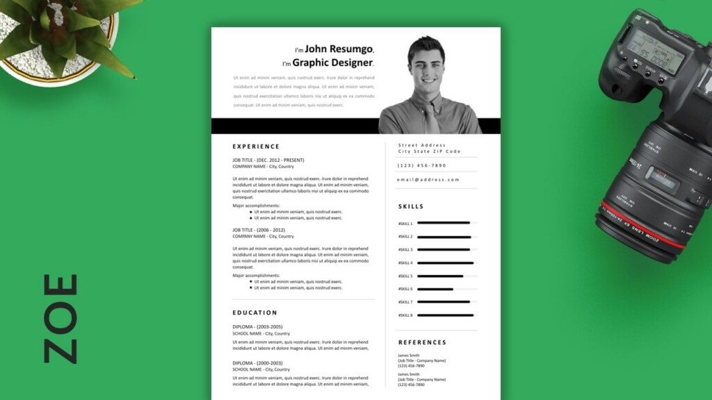 Zoe - Free Easy-to-Print Resume Template