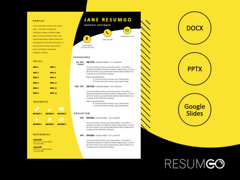 AUSTEN - Free CV Template With a Black Header and a Yellow Left Sidebar - ResumGO