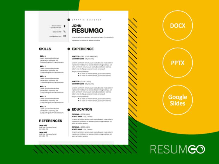BRIGHTON - Free Powerful Black and White CV Template - ResumGO
