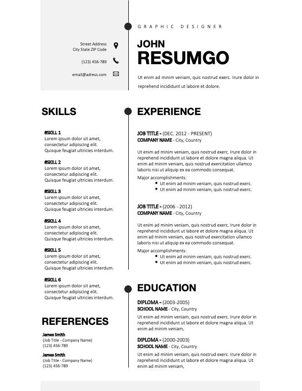 BRIGHTON - Free Powerful Black and White CV Template