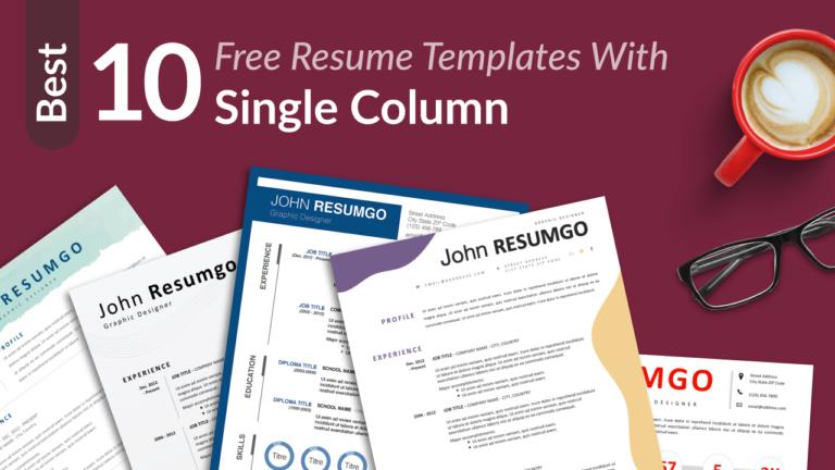 Best Free Single Column Resume Templates