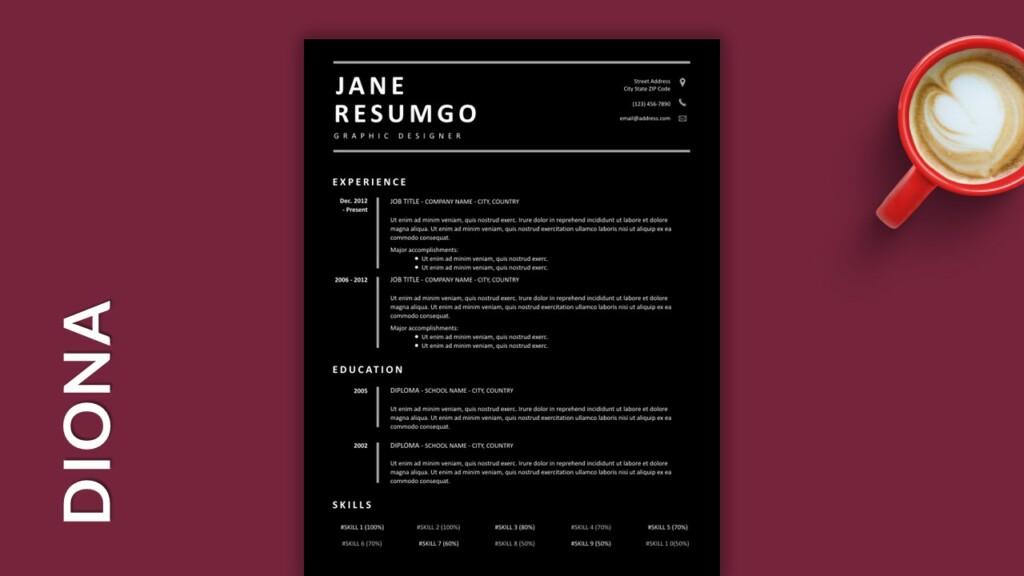 Black Free Single Column Resume Template