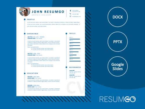 DOMINIQUE - Free CV Template With White Background and Blue Fonts - ResumGO