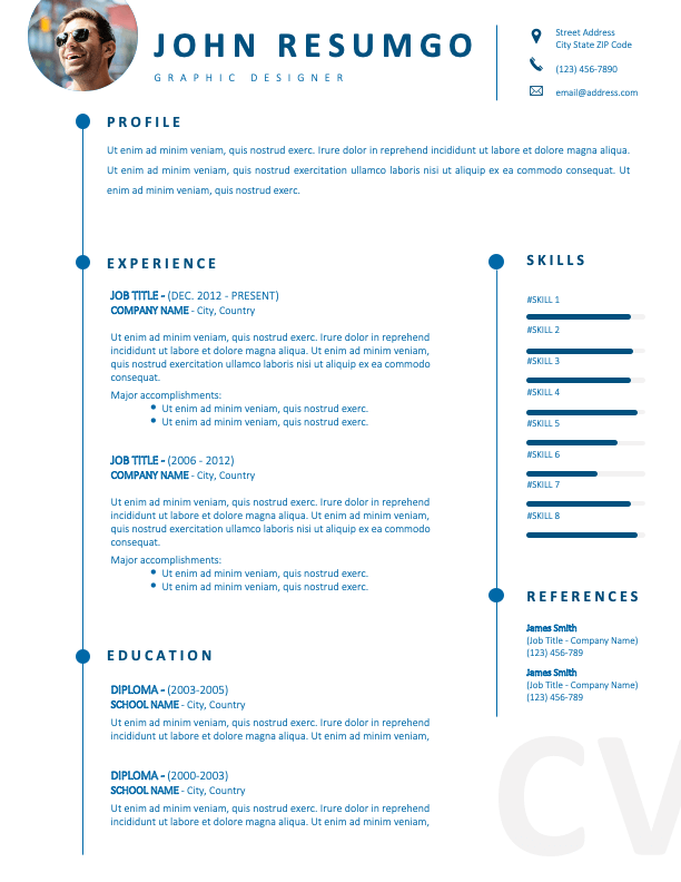 DOMINIQUE - Free CV Template With White Background and Blue Fonts