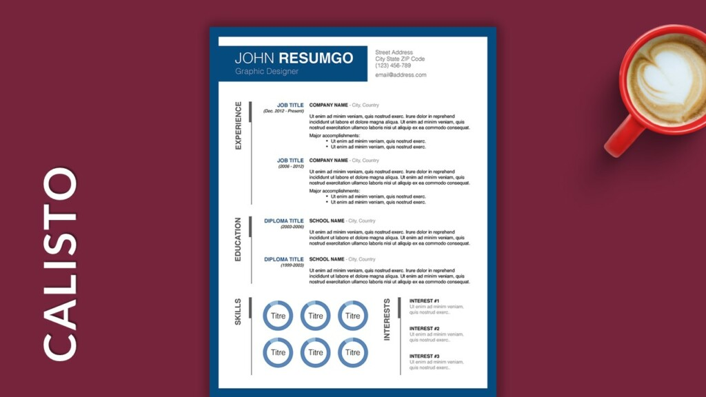 Free Single Column Resume Template with Blue Border