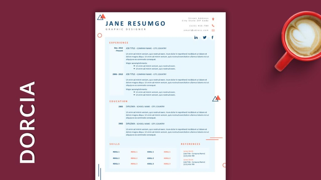 Free Single Column Resume Template with Geometric Shapes