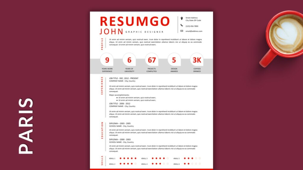 Free Single Column Resume Template with Big Numbers