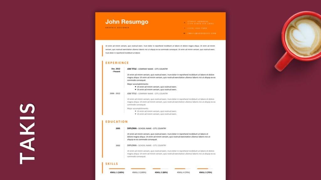 Free Single Column Resume Template with Orange Header