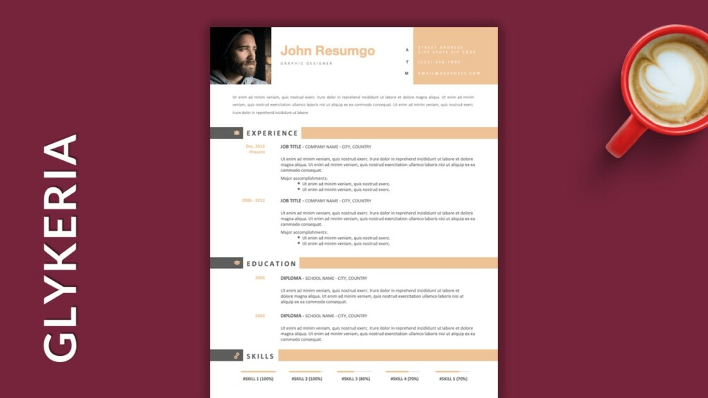 Free Single Column Resume Template with Stripes