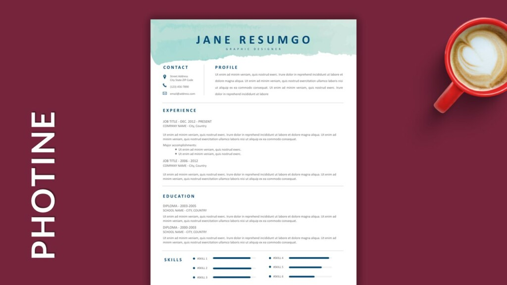 Free Single Column Resume Template with Watercolor Stroke