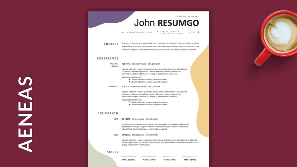 Free Single Column Resume Template with Wavy Shapes
