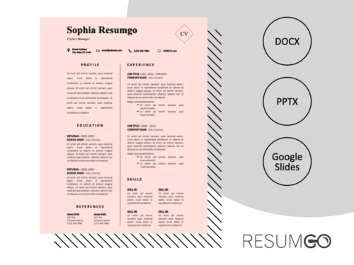 GENTRY - Free CV Template With a Pastel Pink Background - ResumGO