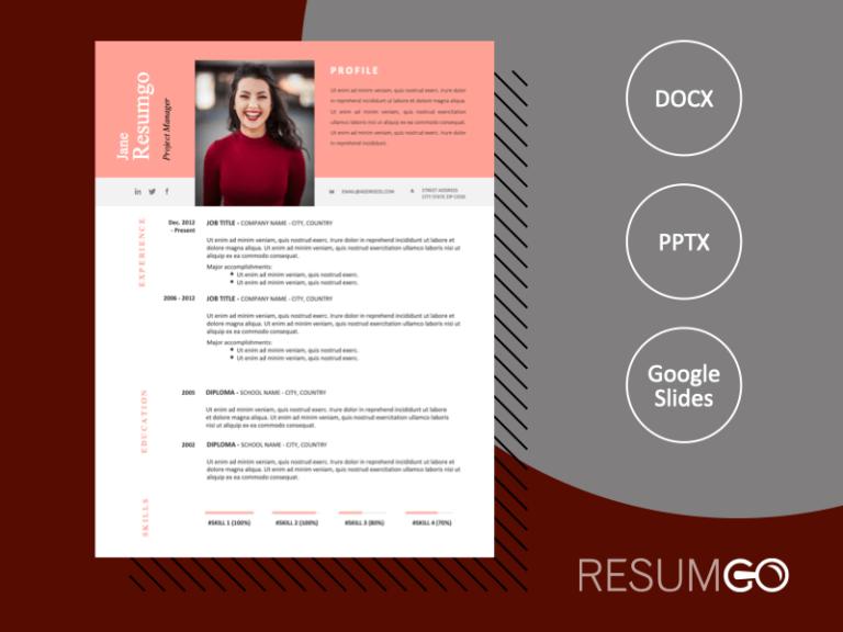 HOLLIS - Free Resume CV With a Remarkable Orange-Pink Header - ResumGO