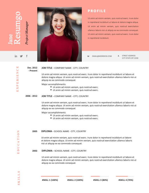 HOLLIS - Free CV Template With a Remarkable Orange-Pink Header