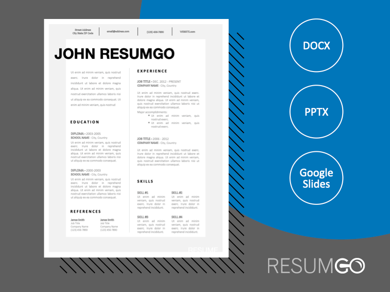 JAEL - Free Simple CV Template With a Fancy Gray Border - ResumGO